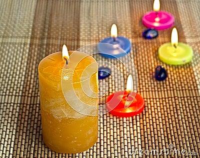 Closeup aroma candles