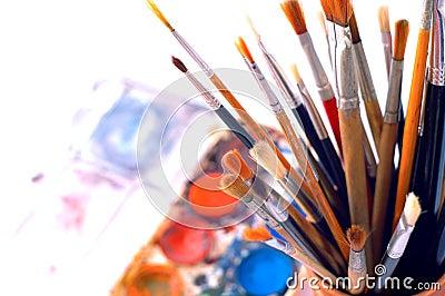 Closeup of artist s watercolor paintbox