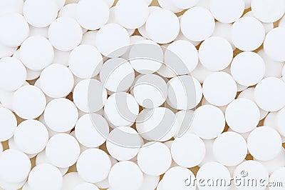 Closeup of Aspirin Tablets