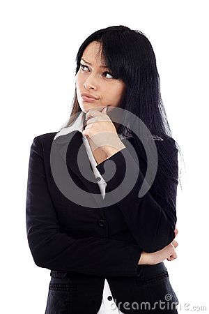 Closeup of attractive businesswoman thinking and looking at the