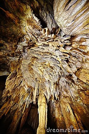 Closeup av stalaktit och stalagmit