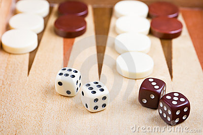 Closeup of backgammon