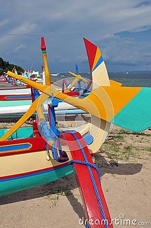 Closeup of Bali Fishing Boats at Sanur, Indonesia.