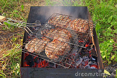 Closeup of barbecue grill with grilled meat