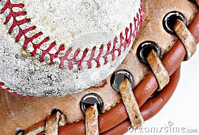 Closeup of baseball in glove