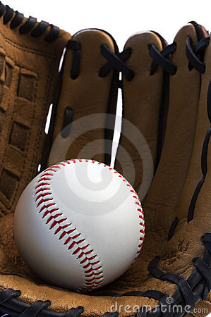 Closeup of baseball glove holding baseball