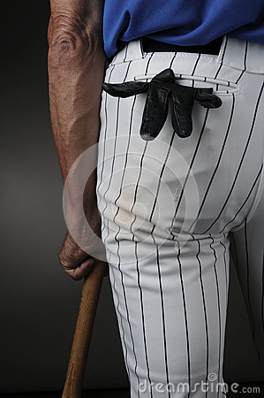 Closeup Baseball Player Leaning on Bat