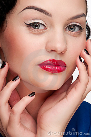 Closeup beautiful glamour woman with red lips