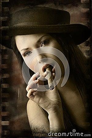 Closeup of beauty chinese smoking cigar