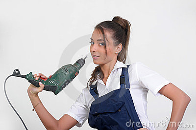 Closeup of a beauty girl with drill