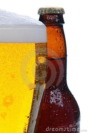 Closeup of a Beer Glass and Bottle