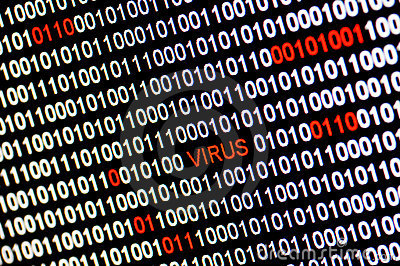 Closeup Of Binary Code Infected By Virus. Stock Photo - Image: 17190820