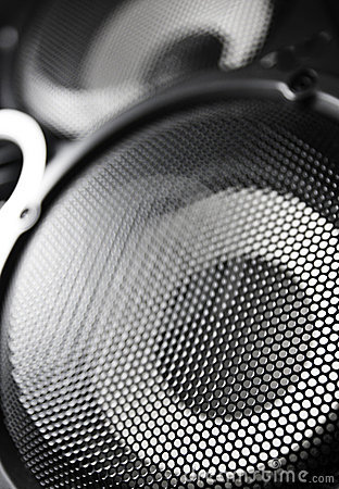 Closeup of a black speaker sub woofer