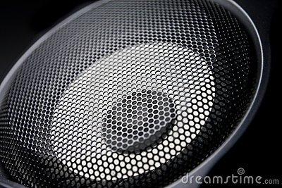 Closeup of a black speaker sub woofer