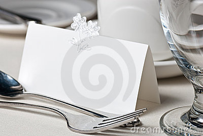 Closeup of blank place card on wedding table