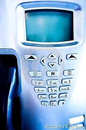 Closeup of blue telephone