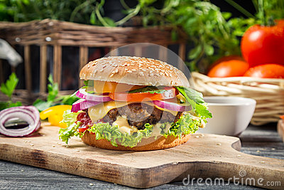 Closeup of burger made ​​from vegetables and beaf