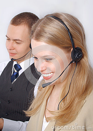 Closeup of a business customer service people