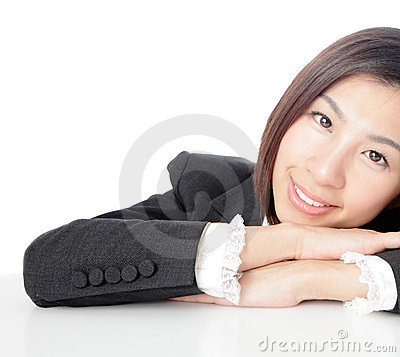 Closeup of business woman attractive smile face