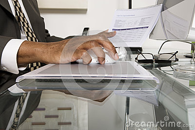 Closeup of Businessman Using Computer