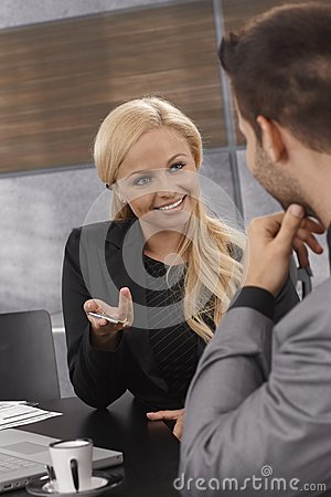 Closeup businesswoman talking