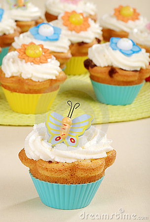 Closeup of butterfly cupcake