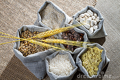 Closeup canvas bags with food ingredient