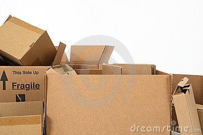 Closeup of cardboard boxes