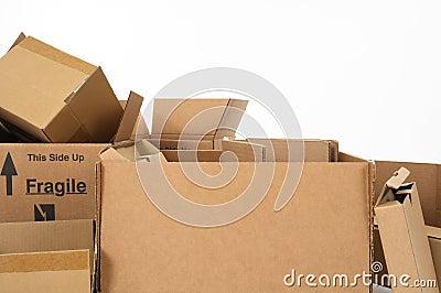 Closeup of cardboard boxes