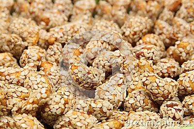 Closeup  cashew in sesame shoot
