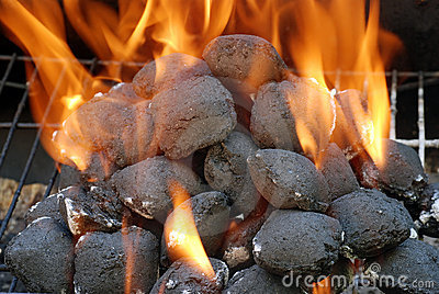 Closeup charcoal barbecue briquettes