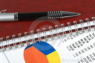 Closeup  of a chart with a pen