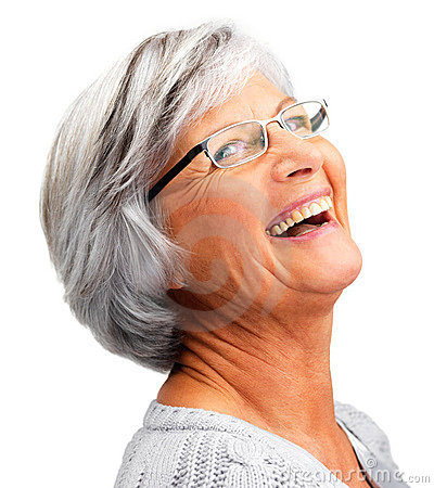 Closeup of cheerful retired woman laughing