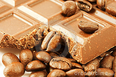 Closeup chocolate bar with coffee beans