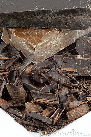Closeup Chocolate Pile on White Plate
