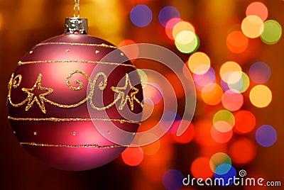 Closeup of christmas ball with abstract light