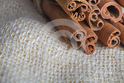 Closeup of cinnamon bark sticks