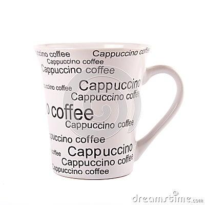 Closeup of coffee mug isolated on white