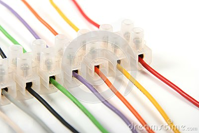 Closeup of colorful electric wires in connectors
