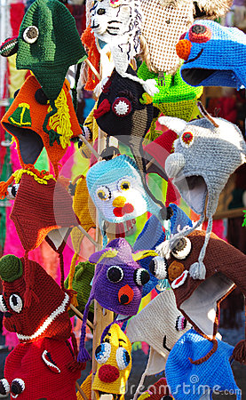 Knitted hats on market stall