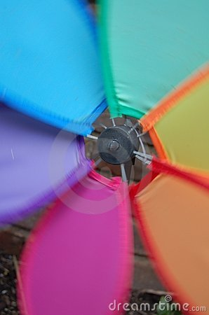 Closeup of Colorful Rainbow Pinwheel Spinning