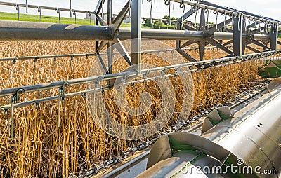 Closeup of a combine harvester