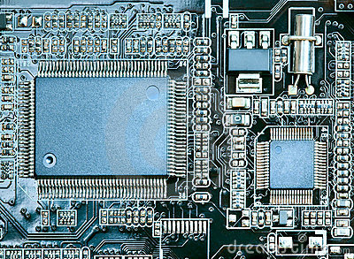 Closeup of computer circuit board