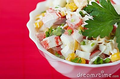 Closeup crab salad white bowl