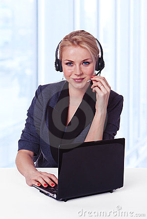 Closeup of customer service representative