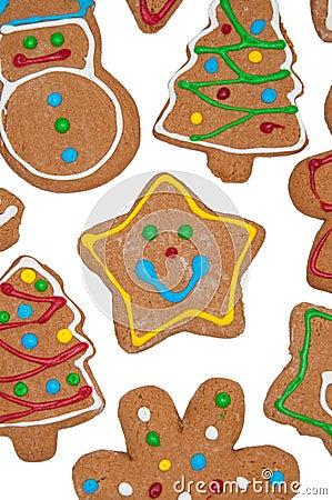 Closeup of cute, colorful gingerbread cookies