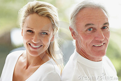 Closeup of a cute mature couple smiling