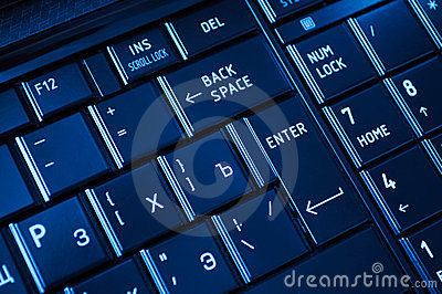 Closeup of a dark keyboard