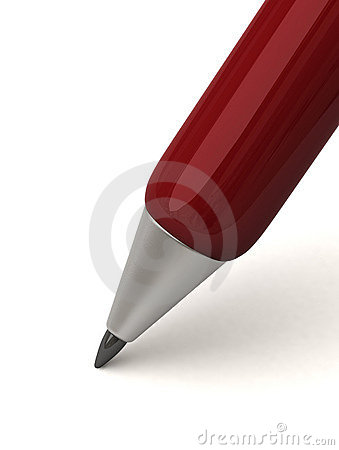 Closeup of dark red writing pen 3d