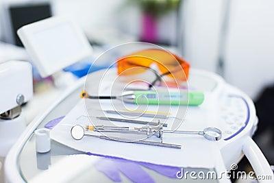 Closeup of dental tools